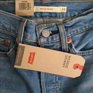 Levis High Rise Wedgie Skinny Denim Jeans 00 24